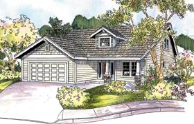 Bungalow Contemporary Country Craftsman House Plan 69796 Elevation