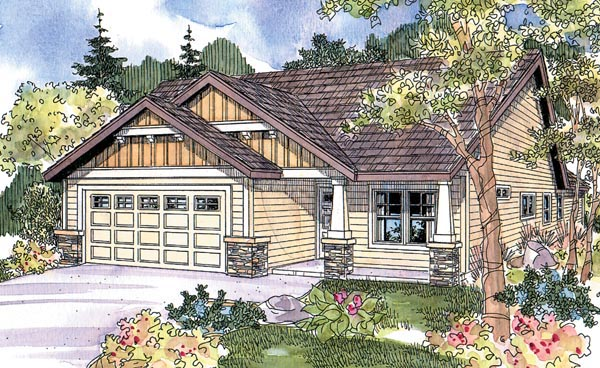 Colonial, Contemporary, Country, One-Story, Ranch House Plan 69797 with 3 Beds, 2 Baths, 2 Car Garage Elevation