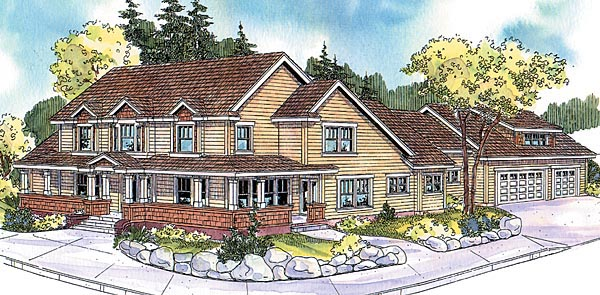 Country Craftsman Farmhouse Elevation of Plan 69798