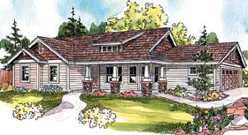 House Plan 69799 | Bungalow Country Craftsman Ranch Style Plan with 1484 Sq Ft, 3 Bedrooms, 2 Bathrooms, 2 Car Garage Elevation