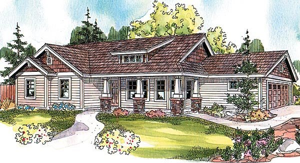 Bungalow Country Craftsman Ranch House Plan 69799 Elevation
