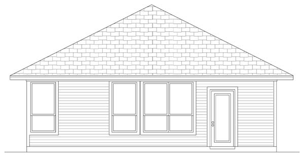 Craftsman Rear Elevation of Plan 69911