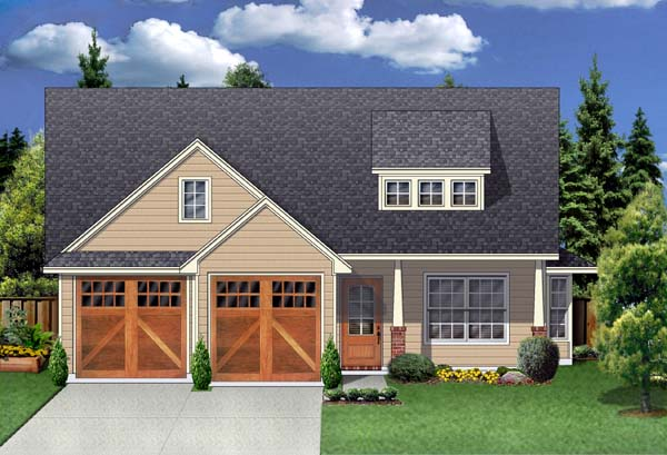 Craftsman House Plan 69912 with 3 Beds, 2 Baths, 2 Car Garage Elevation
