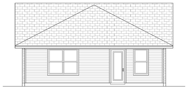 Craftsman Rear Elevation of Plan 69913