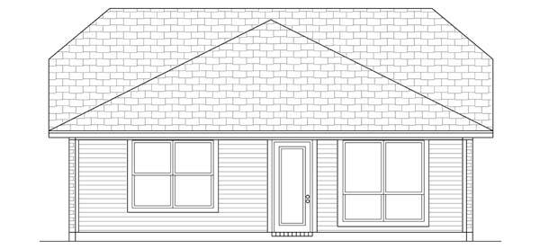 Craftsman Rear Elevation of Plan 69914