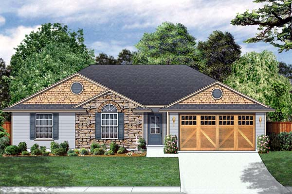 Traditional House Plan 69915 with 4 Beds, 2 Baths, 2 Car Garage Front Elevation
