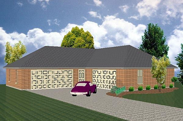 5 Car Garage Plan 69917 Elevation