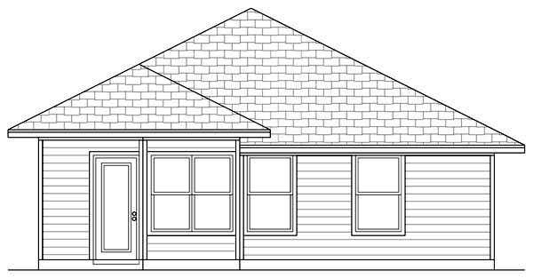 Cottage, Craftsman House Plan 69923 with 3 Beds, 2 Baths Rear Elevation
