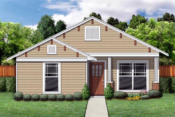 Cottage Craftsman Elevation of Plan 69924