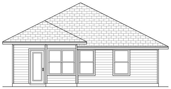 Cottage Craftsman Rear Elevation of Plan 69924