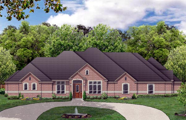 Traditional House Plan 69926 with 4 Beds, 4 Baths, 3 Car Garage Elevation