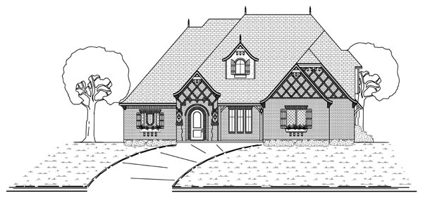 European Traditional Tudor House Plan 69935 Elevation