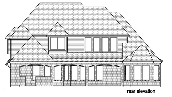 European Traditional Tudor House Plan 69935 Rear Elevation
