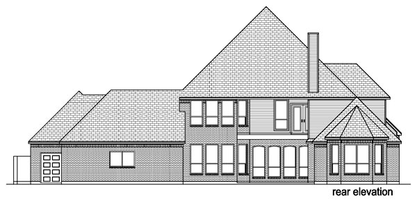 Traditional , European House Plan 69936 with 4 Beds, 5 Baths, 3 Car Garage Rear Elevation