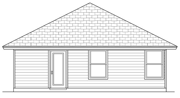 Cottage, Craftsman House Plan 69937 with 1 Beds, 1 Baths Rear Elevation