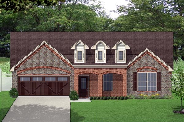 House Plan 69947 | European, Traditional, Tudor Style House Plan with 1803 Sq Ft, 3 Bed, 2 Bath, 2 Car Garage Elevation