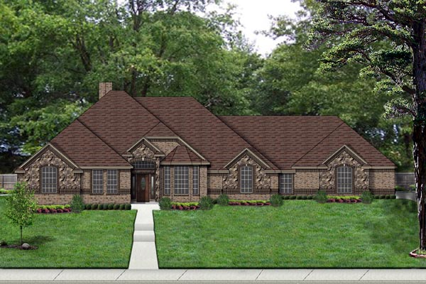 Traditional , European House Plan 69950 with 4 Beds, 3 Baths, 3 Car Garage Elevation