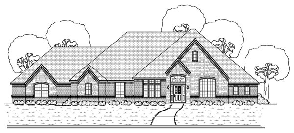 European, Traditional House Plan 69952 with 4 Beds , 3 Baths , 4 Car Garage Elevation
