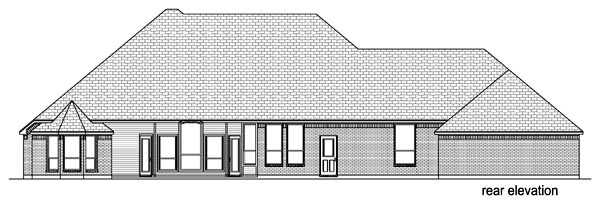 European Traditional Rear Elevation of Plan 69952