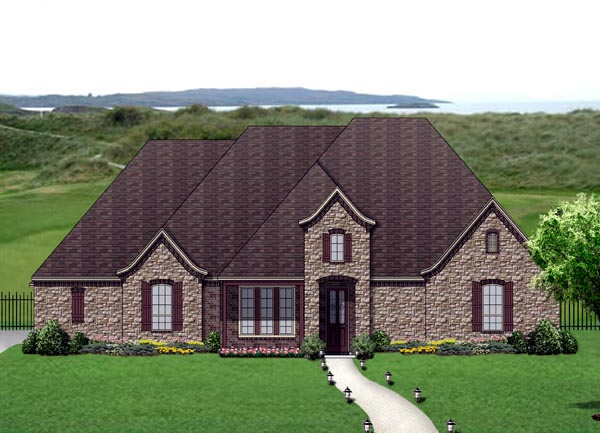 European, Traditional, Tudor House Plan 69953 with 3 Beds, 4 Baths, 3 Car Garage Elevation