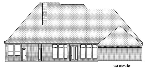 European, Traditional, Tudor House Plan 69953 with 3 Beds, 4 Baths, 3 Car Garage Rear Elevation