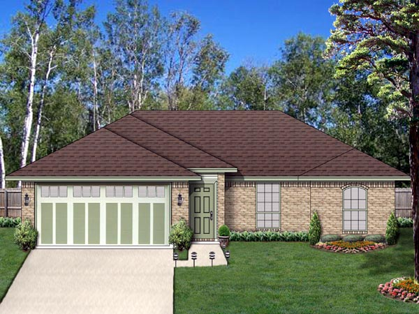 Traditional House Plan 69955 with 3 Beds, 2 Baths, 2 Car Garage Front Elevation