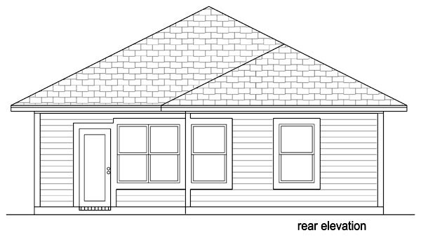 House Plan 69957 | Cottage, Traditional Style House Plan with 1196 Sq Ft, 3 Bed, 2 Bath Rear Elevation