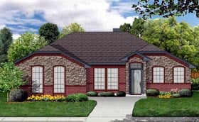 House Plan 69965 | Traditional Style Plan with 1510 Sq Ft, 4 Bedrooms, 2 Bathrooms, 2 Car Garage Elevation