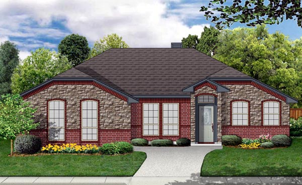 Traditional House Plan 69965 with 4 Beds, 2 Baths, 2 Car Garage Elevation