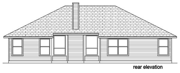 Traditional , Rear Elevation of Plan 69965