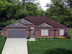 Traditional House Plan 69967 with 3 Beds, 2 Baths, 2 Car Garage Elevation