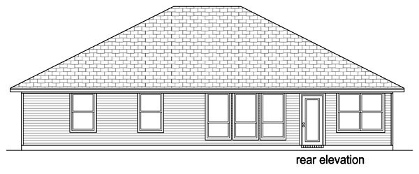 Traditional House Plan 69971 with 4 Beds, 2 Baths, 2 Car Garage Rear Elevation