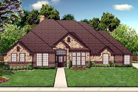 Traditional House Plan 69975 with 4 Beds, 3 Baths, 3 Car Garage Elevation