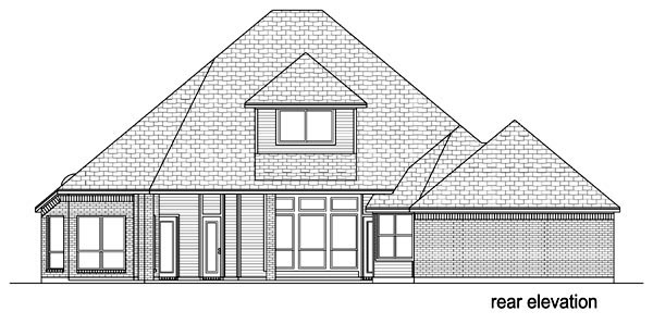Traditional , Rear Elevation of Plan 69977