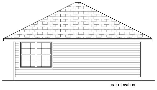 Cottage House Plan 69980 with 1 Beds, 1 Baths Rear Elevation