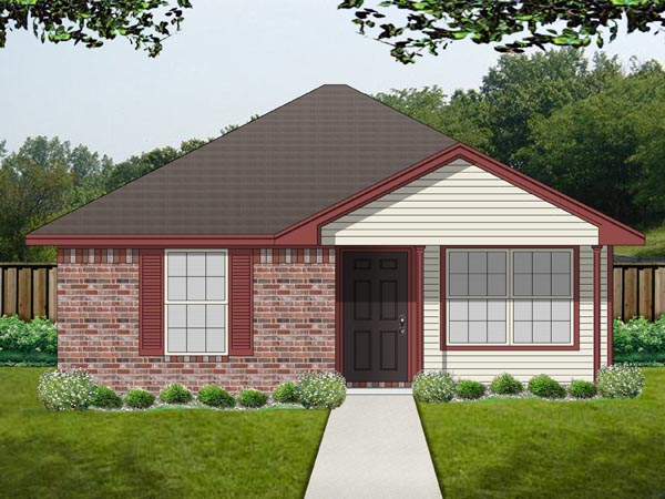 Cottage House Plan 69982 with 1 Beds, 1 Baths Front Elevation