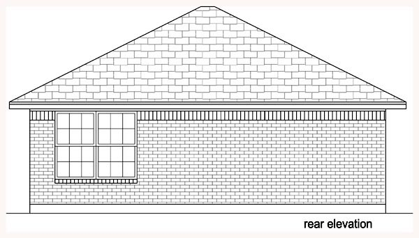 Cottage House Plan 69982 with 1 Beds, 1 Baths Rear Elevation