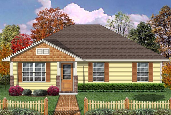 House Plan 69985 | Craftsman Style House Plan with 1194 Sq Ft, 2 Bed, 1 Bath Elevation