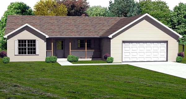 Traditional House Plan 70168 with 3 Beds, 3 Baths, 2 Car Garage Elevation