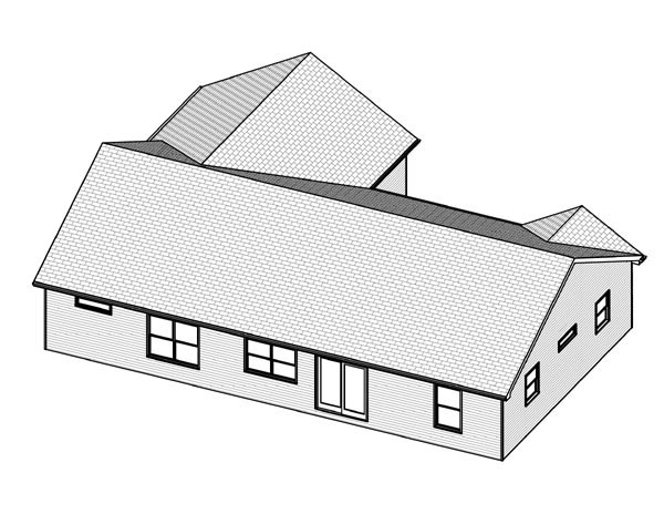Traditional House Plan 70168 with 3 Beds, 3 Baths, 2 Car Garage Rear Elevation