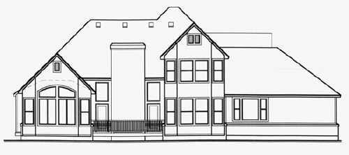 European House Plan 70406 Rear Elevation