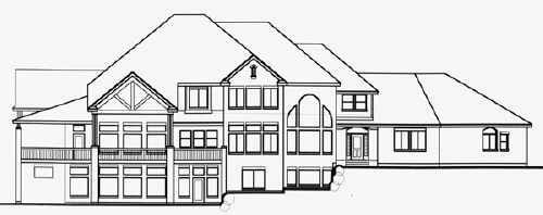 European House Plan 70408 Rear Elevation