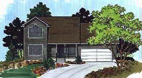 House Plan 70412 | Traditional Style Plan with 1518 Sq Ft, 3 Bedrooms, 2 Bathrooms, 2 Car Garage Elevation