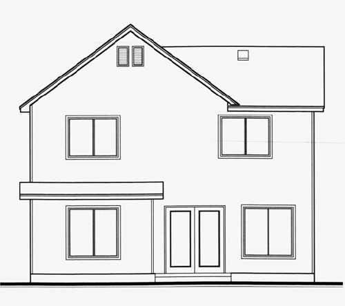 House Plan 70414 | Traditional Style Plan with 1650 Sq Ft, 3 Bedrooms, 3 Bathrooms, 2 Car Garage Rear Elevation