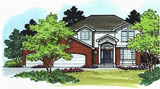 Colonial House Plan 70417 with 4 Beds, 3 Baths, 3 Car Garage Elevation