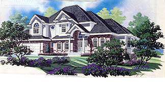 European House Plan 70464 with 4 Beds, 3 Baths, 3 Car Garage Elevation