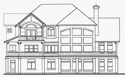 Victorian House Plan 70471 with 2 Beds, 3 Baths, 3 Car Garage Rear Elevation