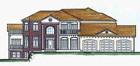 House Plan 70476   Colonial Style Plan with 4067 Sq Ft, 4 Bedrooms, 5 Bathrooms, 3 Car Garage Elevation