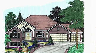 Traditional House Plan 70483 with 3 Beds, 3 Baths, 3 Car Garage Elevation