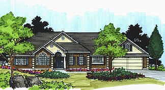 Traditional House Plan 70497 with 3 Beds, 3 Baths, 2 Car Garage Elevation